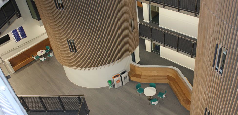 Science Centre atrium area seen from the seventh floor