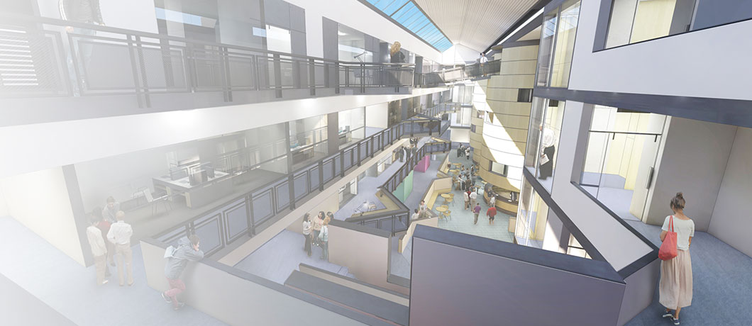 Computer generated image of the Anglia Ruskin Science Centre atrium
