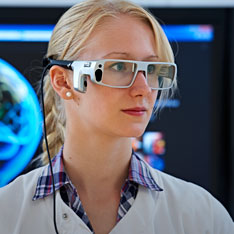 Student using eye-tracking equipment
