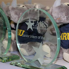 A cuddle toy of Ruskin the Rhino with a LAIBS intern trophy
