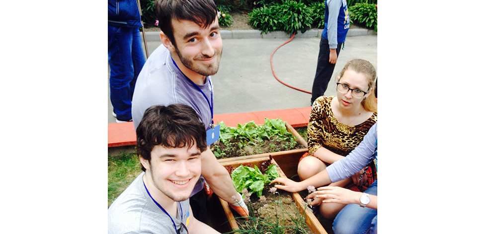 David, Luke and the team planting the garden
