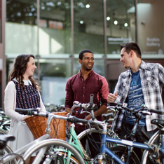 Students with bicycles