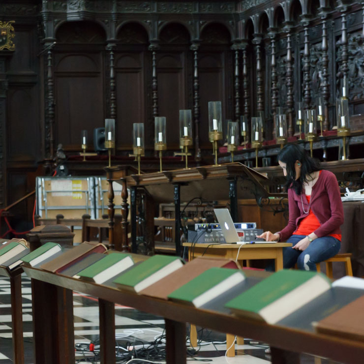 Dr Mariana Lopez working in King's College Chapel