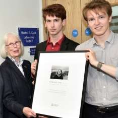 Members of Dr Rachel Cook's family with the plaque dedicated to her memory