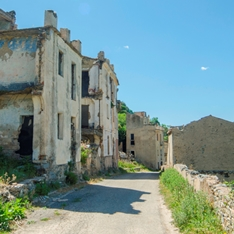 The abandoned village of Gairo Vecchio in Sardinia, Italy