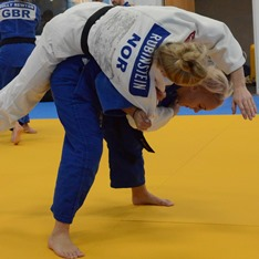 Norwegian judo players training with Anglia Ruskin students