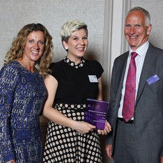 Student Olivia Rees alongside Sally Gunnell and Simon Knighton at the awards presentation