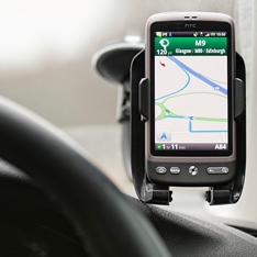 A mobile phone being used as Satellite Navigation