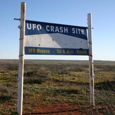 Sign showing site of a 'UFO crash'