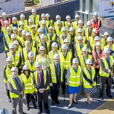 Guests at the topping out ceremony for the School of Medicine