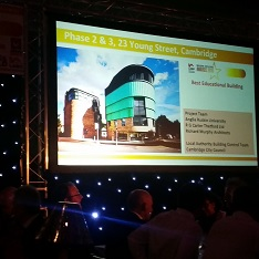 A picture of the Young Street building at the awards ceremony