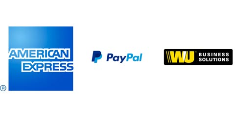 American Express, PayPal and Western Union logos